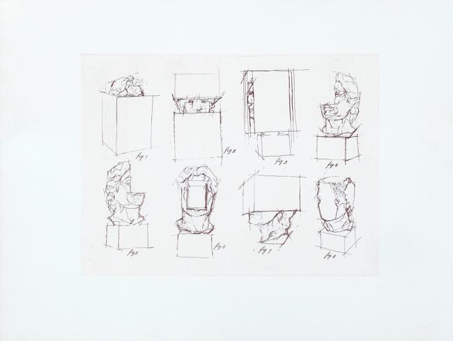 Sosno Sacha : Original etching : Etude T�te au carr� II