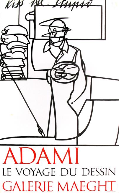 Adami Valerio : Affiche lithographie : Le voyage du dessin