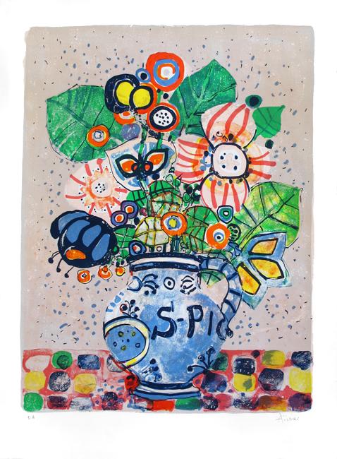 Aizpiri Paul : Lithographie originale signée : Bouquet de fleurs