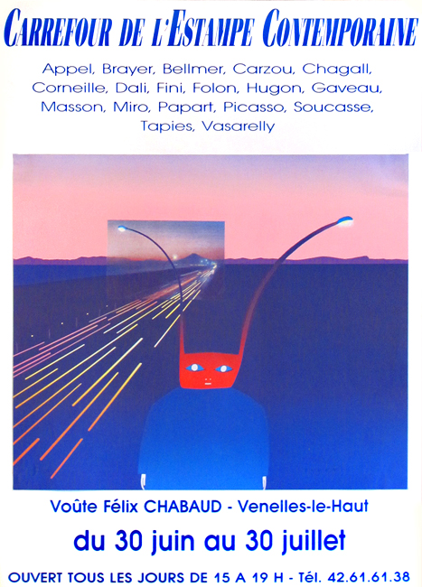 Affiche d'exposition offset de  : Carrefour de l'estampe contemporaine