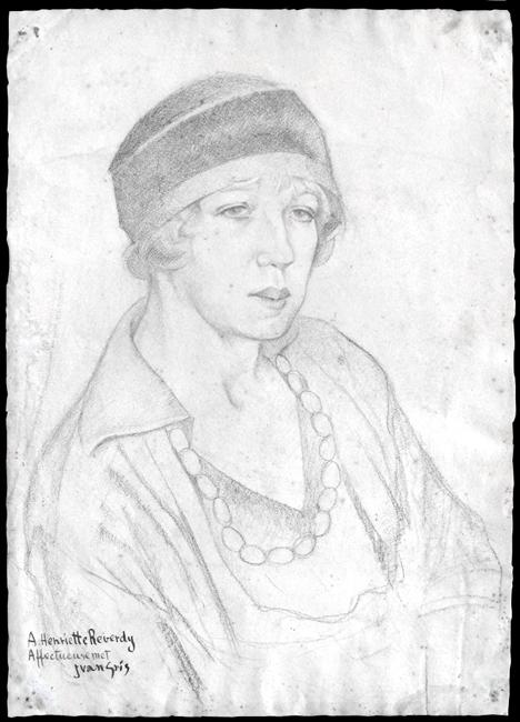 Gris Juan : Dessin original signé : Portrait de Madame Henriette Reverdy I