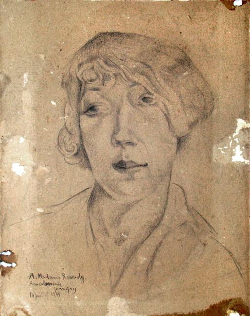 Gris Juan : Dessin original signé : Portrait de Madame Henriette Reverdy II