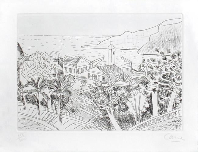 Cane Louis : Original signed etching : Mediterranean landscape