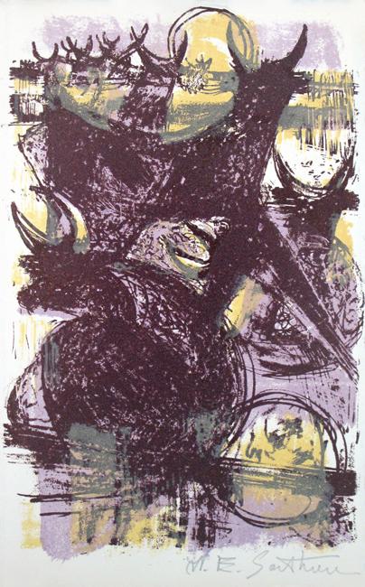 Sarthou Maurice Elie : Original signed lithograph : Bulls