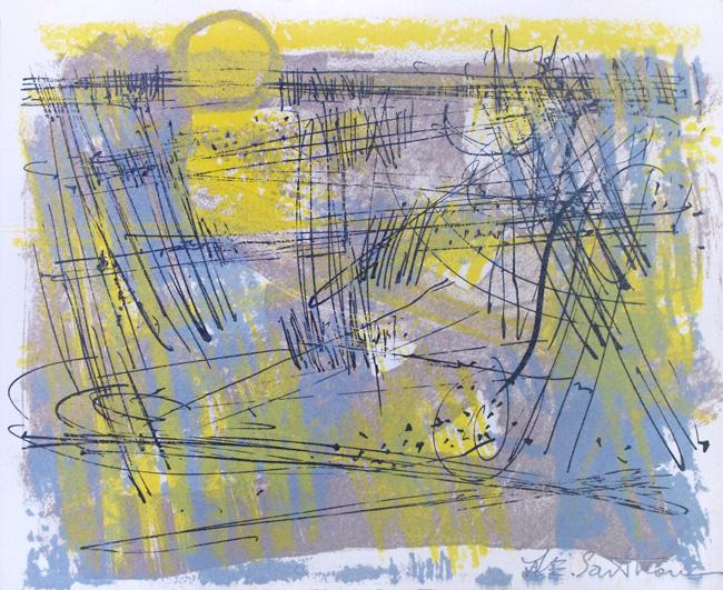 Sarthou Maurice Elie : Original signed lithograph : Landscape