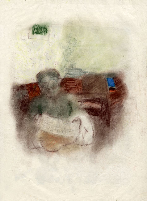 Vuillard Edouard : Dessin original : Madame Vuillard assise