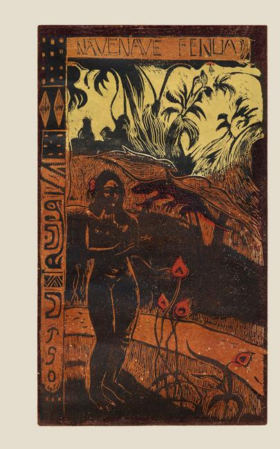 Gauguin Paul : Bois gravé original : Nave Nave Fenua, Terre délicieuse