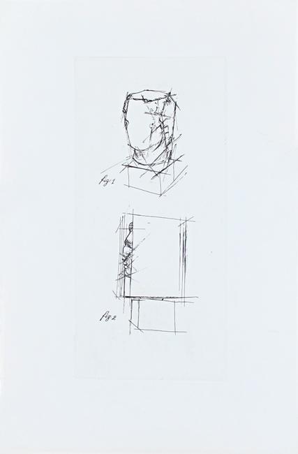 Sosno Sacha : Original etching : Etude de tête au carré IV