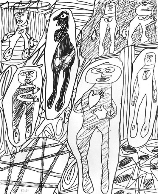 Dubuffet Jean : Dessin signé : Suite avec 7 personnages