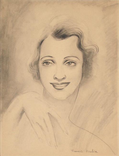 Picabia Francis : Dessin original signé : Portrait de Suzanne Romain
