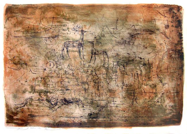 Zao Wou Ki : Lithographie originale signée : Les cerfs