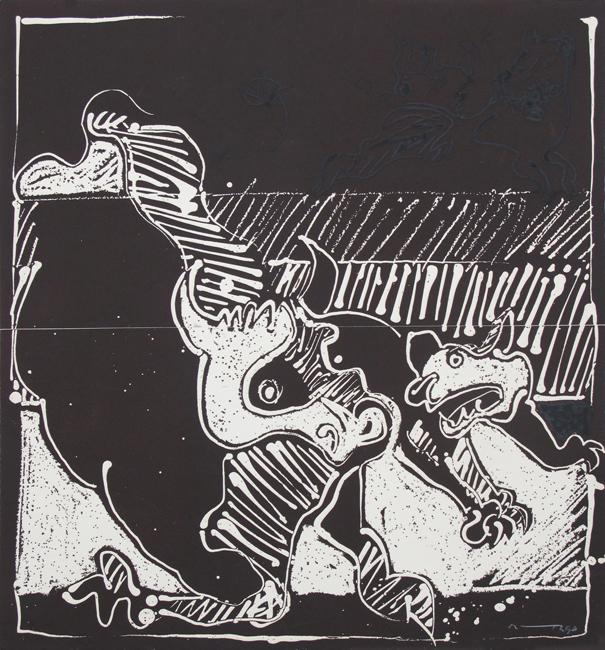 José Ortega, Lupi, grabado original, carborundum firmado