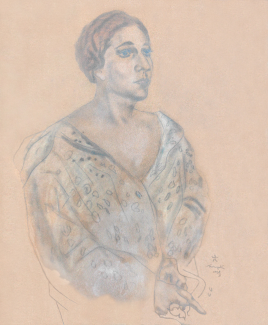 Foujita Léonard : Dessin original signé : Portrait de femme