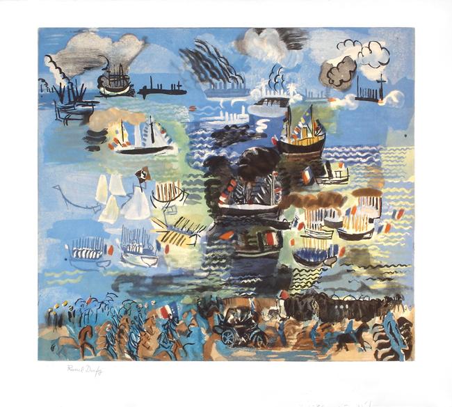 Dufy Raoul : Gravure signée : La fête nautique à Marseille