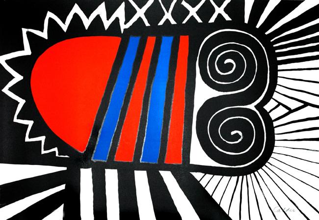 Calder Alexander : Lithographie originale signée : Papouse