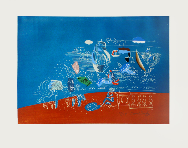 Dufy Raoul : Lithographie originale signée : Jeux de la mer