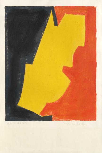 Poliakoff Serge : Lithographie originale signée : Composition rouge, jaune et noire