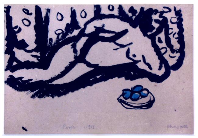 Chagall Marc : Dessin signé : Nu aux pommes