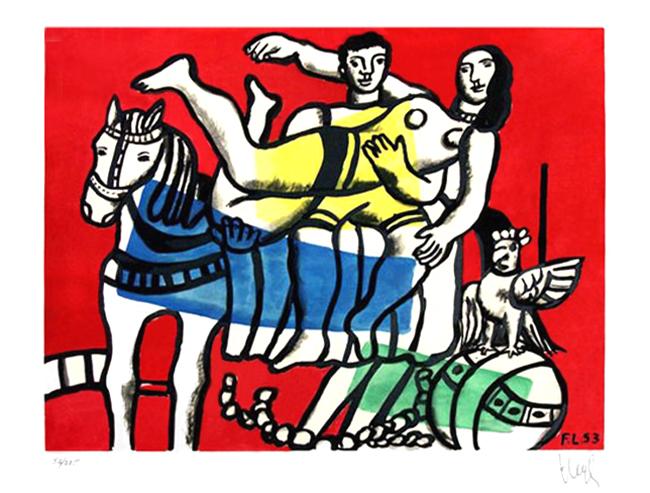 Léger Fernand : Lithographie d'interprétation signée : La parade