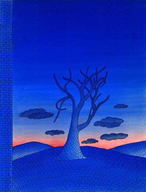 Folon Jean Michel : Aquarelle signée : L'arrêt du temps II