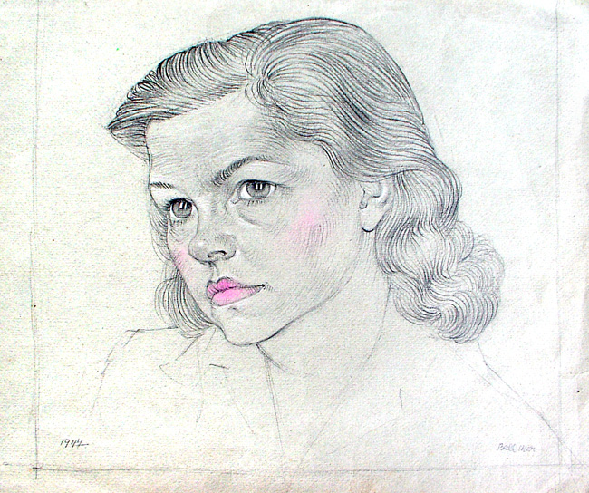 Bellmer Hans : Dessin original signé : Portrait de femme