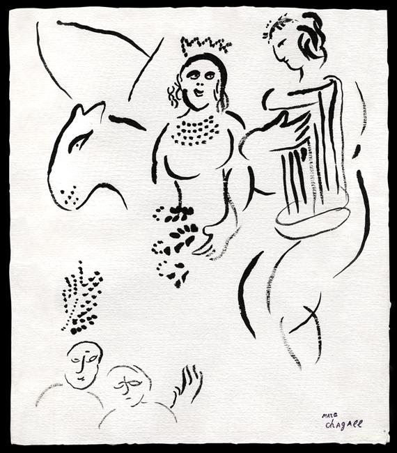 Chagall Marc : Dessin original : Sans titre