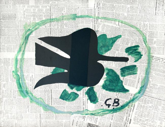 Braque Georges : Lithographie originale : L'oiseau dans le feuillage