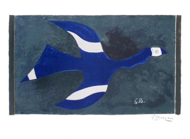 Braque Georges : Lithographie originale signée : Vol de nuit