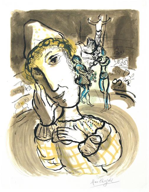 Chagall Marc : Lithographie signée : Le cirque au clown jaune