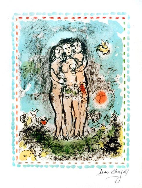 Chagall Marc : Lithographie signée : Les trois nus