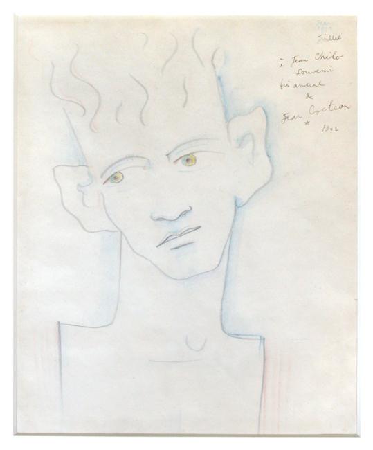 Cocteau Jean : Dessin au crayon signé : Portrait d'homme