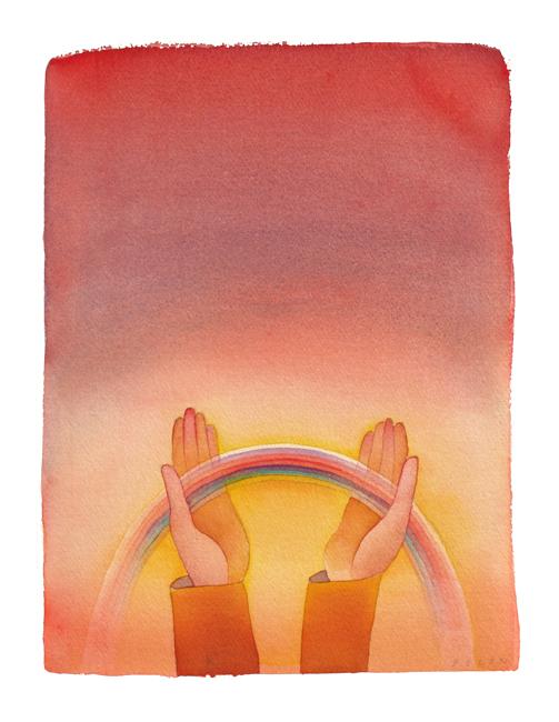 Folon Jean Michel : Aquarelle signée : Arc en ciel