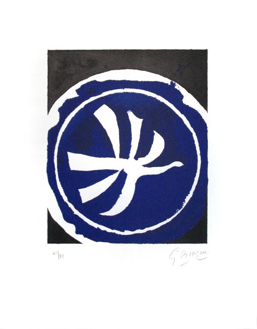 Braque Georges : Lithographie originale signée : L'oiseau blanc