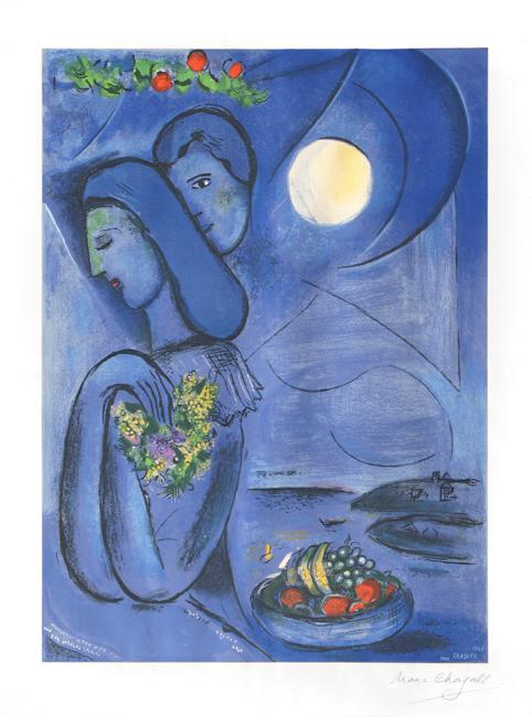 Chagall Marc : Lithographie signée : Saint Jean Cap Ferrat