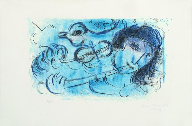Chagall Marc : Lithographie originale signée : Le joueur de flûte