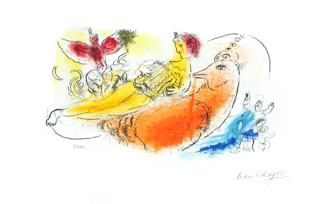 Chagall Marc : Lithographie originale signée : L'accordéoniste