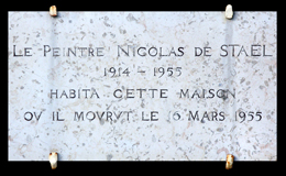 Plaque commémorative sur la maison d'Antibes