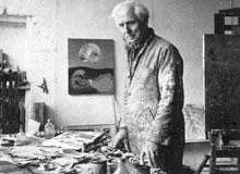 Max Ernst dans son atelier de Seillans