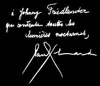 Dédicace d'Elard à Johnny Friedlaender