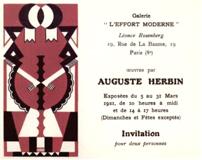 Carton d'invitation, 1921, exposition Herbin