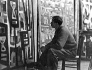 Alfred Manessier dans son atelier, 1952