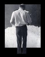 Antonio Saura devant sa toile