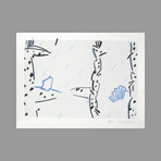 Original signed lithograph de Kuroda Aki : Dominant white