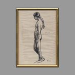 Original signed ink de Andr� Albert : Nude woman in profile