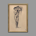 Original drawing in ink de Andr� Albert : Nude with basket