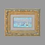 Original signed oil de Hambourg André : The blue sailboat
