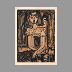 Signed single work de Marchand Andr� : Seated woman
