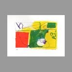 Original signed lithograph de Kimura Chuta : Landscape on yellow bottom