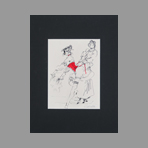 Signed drawing in ink de Catulle Claude : Fille au corset rouge