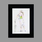 Original drawing in ink de Catulle Claude : La petite grosse à l'ombrelle